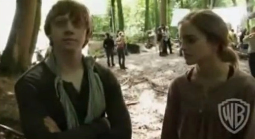 Rupert Grint and Emma Watson talking final HP book on DH Set